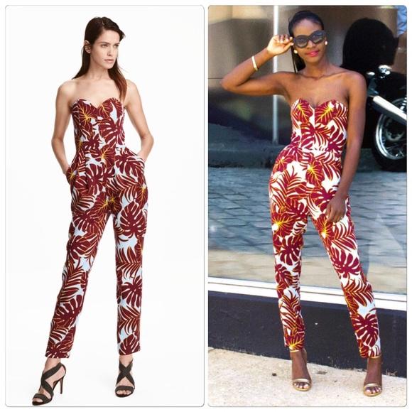 fae65d7acd38 H M Pants - H M Tropical Print Jumpsuit